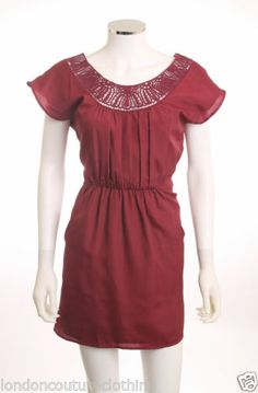 FOREVER 21 SCOOP EMBROIDERED GATHERED WAIST WITH POCKETS BURGUNDY DRESS SZ XS/TP