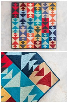 Pathfinder Solids Mojave Quilt Kit by Sarah Ruiz featuring Boundless Solids for Craftsy. Get wild with triangles! Made up entirely of fat quarter solids, this fashion-forward throw adds a refreshing splash of color to any room. Modern Solid quilt. Solids quilt pattern. Affiliate link.