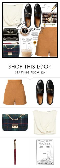 """""""Untitled #308"""" by lastfatima ❤ liked on Polyvore featuring Rosetta Getty, Gucci, Champion, Rachel Comey, Fountain, Bobbi Brown Cosmetics, Gatsby and Pier 1 Imports"""