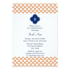 Monogrammed Orange , Royal Blue Quatrefoil Bridal