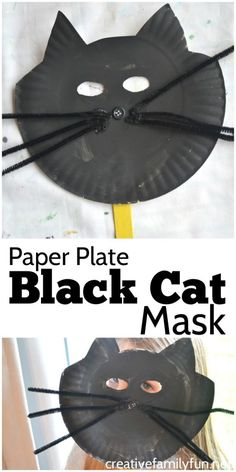 This paper plate Halloween Black Cat Mask is a little bit silly, a little bit spooky, but not a bit scary. It's fun for pretend play!