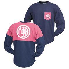 Gamma Phi Beta Navy & Pink Monogram Jersey