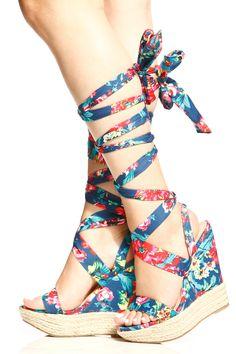a893684a2407d3 Blue Floral Print Espadrille Wrap Around Wedges   Cicihot Sandals Shoes  online store sale Sandals