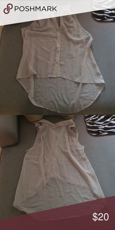Taupe sheer button down top Mimi chica button down sleeveless top. Longer in the back. Size medium. 100% polyester. Mimi Chica Tops Button Down Shirts