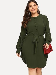 Shop Plus Beaded Solid Dress online. SHEIN offers Plus Beaded Solid Dress & more to fit your fashionable needs. Look Plus Size, Plus Size Casual, Plus Size Dresses, Plus Size Outfits, Natural Clothing, Plus Size Kleidung, Plus Size Beauty, Mode Hijab, Belted Dress
