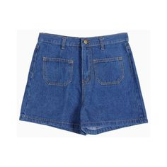 High Waist and Patch Pockets Straight Denim Short (1,175 PHP) ❤ liked on Polyvore featuring shorts, bottoms, high-waisted jean shorts, basketball shorts, denim shorts, high rise shorts and high-waisted shorts