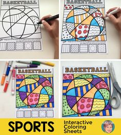 Sports interactive and pattern filled coloring sheets - sports included are basketball, golf, volleyball, baseball, softball, football (American), football (international) and soccer. This is a great art project for kids who love sports!