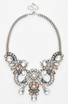 Crushing on this winter toned crystal and stone statement necklace.