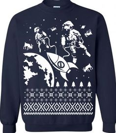 Astronaut in Space Ugly Christmas Sweater Fleece Pullover Sweatshirt Funny Christmas Sweaters Gifts For Science Geeks Mens Sweaters Ladies