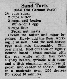 Found in Reading Times in Reading, Pennsylvania on Thu, Aug Real Old German Style Sand Tarts 1936 (Homemade Butter Tarts) Amish Recipes, Old Recipes, Tart Recipes, Cookie Recipes, Retro Recipes, Vintage Recipes, Christmas Baking, Christmas Cookies, Christmas Candy