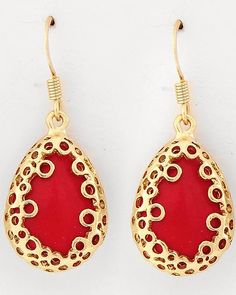 16K Gold Red Coral Coterie Earrings on Emma Stine Limited VIP $40