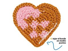 Crochet mini heart ♥LCH-MRS♥ with diagram
