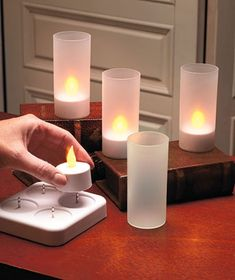 Found them MUCH cheaper at Lakeside Collections!  Rechargeable LED Candle Set