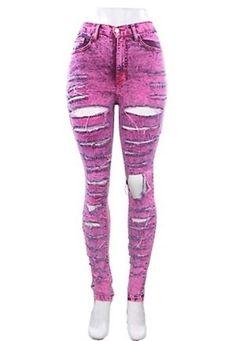 New High Waisted ACID Mineral Wash Pink Neon Distressed Skinny Denim Jean Pants #JudyBlueJeans #SlimSkinny