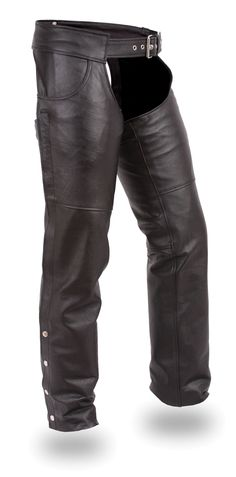Unisex Jean Style Leather Motorcycle Chaps by First Mfg  http://www.mymotorcycleclothing.com/
