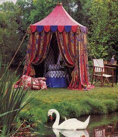 my kind of cabana! A medieval tent! Gypsy Caravan, Gypsy Wagon, Jasmin Party, Bohemian Theme, Pool Cabana, Gypsy Life, Camping Glamping, Outdoor Living, Outdoor Decor