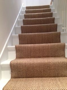Client: Private Residence In West London. Brief: To supply & install sisal carpe… – carpet stairs Carpet Staircase, Staircase Runner, Hall Carpet, Sisal Stair Runner, West London, Halle, Bedroom Carpet Colors, Cottage Hallway, Sisal Carpet