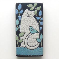 Cat Kitty raku fired art tile for your by DavisVachon on Etsy, $39.00