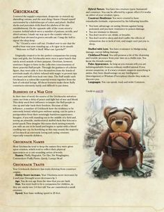 Gricknack - The Warrior Stuffed Animal Race : UnearthedArcana Dungeons And Dragons Races, Dungeons And Dragons Classes, Dnd Dragons, Dungeons And Dragons Homebrew, Dnd Characters, Fantasy Characters, Dnd World Map, Dnd Stats, D D Races