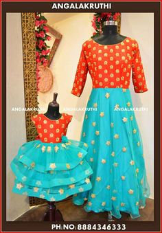 Mother and Daughter matching dress designs by Angalakruthi boutique Bangalore mother daughter dresses boutique india Mom Daughter Matching Dresses, Mom And Baby Dresses, Mother Daughter Outfits, Mommy And Me Outfits, Mom Dress, Dress Skirt, Half Saree Designs, Dress Designs, Kalamkari Dresses