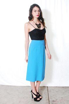 40s Pencil Skirt VTG High Waist Sky Blue Skirt XS S  by:-waistedvintage