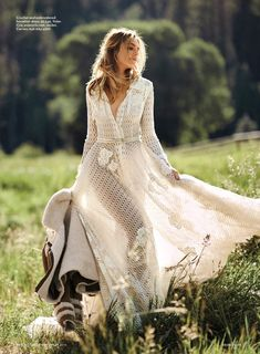 Bridget Malcolm hits the outdoors in crochet dress from Yolan Cris with Carven jacket for Brides Magazine October 2016