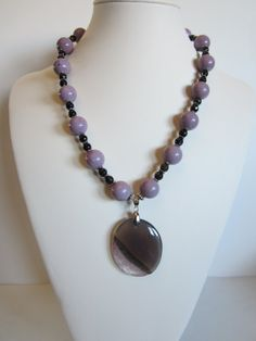 Lavender Necklace with ceramic lavender beads and brown by yasmi65, $33.00