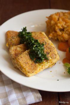 Crispy Coated Tofu #Vegan Chickn Filets with Parsley Pesto