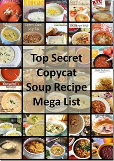 Top Secret Copycat Soup Recipe Mega List: a huge list of restaurant-inspired soups that can be made at home! Featuring my favorite Panera-Copycat Broccoli and Cheddar Soup Vegetarian Recipes, Cooking Recipes, Healthy Recipes, Cooking Tips, Campbell's Tomato Soup Recipes, Copycat Soup Recipe, Pianono Recipe, Chilis Copycat Recipes, Restaurant Recipes