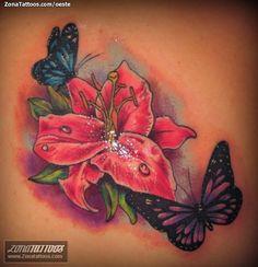 Foto tatuaje Flores, Lirios, Mariposas