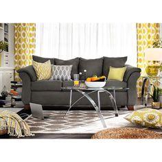 Perry Graphite Upholstery Sofa | Furniture.com