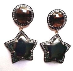 FREE SHIPPING 925 STERLING SILVER EARRING WITH CARVED SMOKY QUARTZ GEMSTONE  #SilvexStore #DropDangle