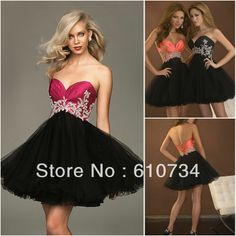 SP0014 Lovely Lace Up Back Short Fluffy Red Black Lace Prom Dresses US $134.66