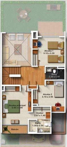 Planos de casas gratis de tres pisos en 127.50 m2 | Planos de Casas                                                                                                                                                      Más