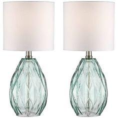 Rita Blue-Green Glass Table Lamp Set of 2 - #1K747-1K747 | Lamps Plus