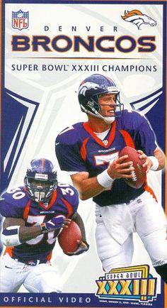 Super Bowl XXXIII - Denver Broncos Championship Video [VHS]:Amazon Denver Broncos Players, Denver Broncos Quarterbacks, Denver Broncos Super Bowl, Denver Broncos Football, Go Broncos, Broncos Fans, Denver Broncos Wallpaper, Bronco Car, Broncos Pictures