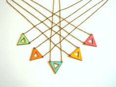 Geometric Neon Necklace Wood Triangles by LiKeGjewelry on Etsy, $14.00