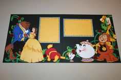 This is an adorable layout for those cute princess pictures. This layout features Belle and the Beast, Mrs. Potts and Chip, Cogsworth and Lumier. It also has handmade roses with room for two 4 x 6 photos.