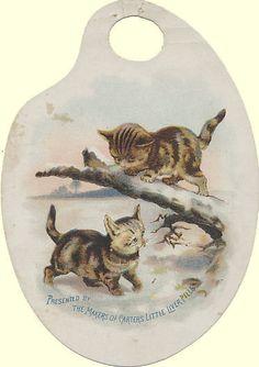 Die-Cut Victorian Trade Card - Kittens - Carter's Little Liver Pills #CartersLittleLiverPills