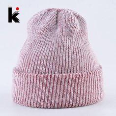 e3f9a26a214 Unisex Leisure Knitted Hat Female Warm Cotton Blends Hat Women s Winter Cap  Men Embroidery Stars Hip Hop Skullies Beanies Girls in 2018