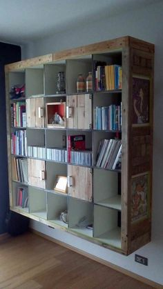 Hacking IKEA with pallet wood? WHY NOT! Here's Ricardo's version of a white sad expedit cabinet. Idea sent by Ricardo Tamiazzo