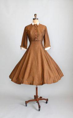 Vintage 1950s Bronze Dress and Jacket.