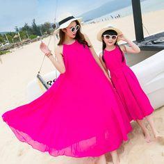 2b6cfc22e72 Mother Daughter Dresses with Matching Belt 2017 Summer Chiffon Maxi Dress  Women Girls Beachwear Plus Size