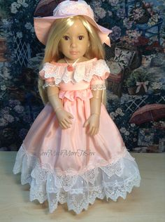 """Kidz n Cats 18"""" Doll Peaches and Cream  Bridesmaid Dress and Hat by SewMuchMoreToSew on Etsy https://www.etsy.com/listing/510089162/kidz-n-cats-18-doll-peaches-and-cream"""