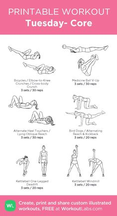 Tuesday- Core:my visual workout created at Health And Fitness Articles, Health Fitness, Fun Workouts, At Home Workouts, Weekly Workouts, Fitness Workouts Gym, Core Workout At Gym, Body For Life Workout, Weighted Core Workout