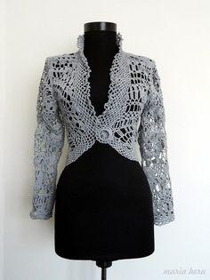 Gray Free Form Bolero/ Original Hand Crochet Jacket by MariaHera, £150.00