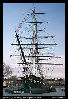 Cutty Sark with wind blowing upon flags. Greenwich, London, England, United Kingdom (