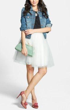 Love this look. SJP 'Etta' pumps, tulle dress and denim jacket.