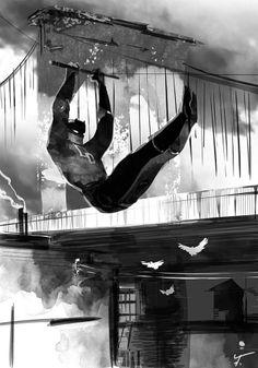 Daredevil inkwash by Fred Vervisch Marvel Comics, Marvel Art, Marvel Heroes, Daredevil Artwork, Daredevil Elektra, Comic Book Heroes, Comic Books Art, Comic Art, Stan Lee