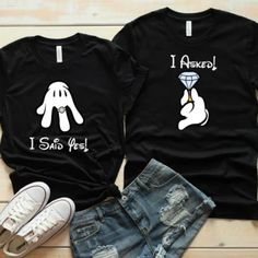 Disney Couples Matching Engagement ShirtsYou can find Matching couples and more on our website. Disney Couple Outfits, Disney Couple Shirts, Matching Disney Shirts, Matching Couple Shirts, Matching Couples, Disneyland Couples, Disneyland Outfits, Disneyland Shirts, Disney Couples